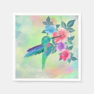 Cool cute  vibrant watercolours hummingbird floral disposable napkin