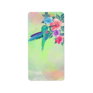Cool cute vibrant watercolours hummingbird floral label