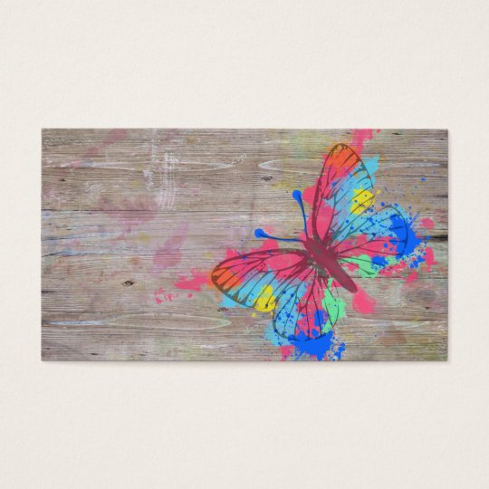 Cool cute vibrant watercolours vintage butterfly business card