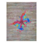 Cool cute vibrant watercolours vintage butterfly poster