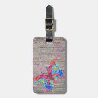 Cool cute watercolours splatters vintage butterfly luggage tag
