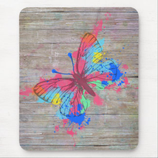 Cool cute watercolours splatters vintage butterfly mouse mat