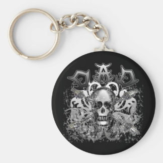 Cool DAD in Heavy Metal Style Tshirts and Gifts Basic Round Button Key Ring