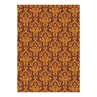 cool damask brown vintage pattern 13 cm x 18 cm invitation card