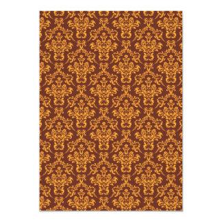 cool damask brown vintage pattern 13 cm x 18 cm invitation card