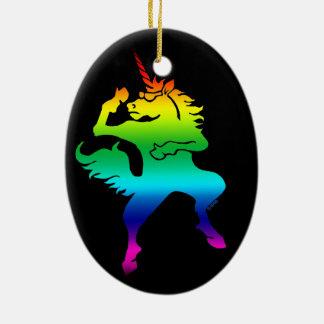 Cool dancing unicorn ceramic oval decoration