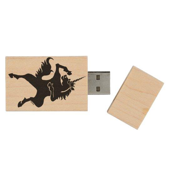 Cool dancing unicorn wood USB flash drive