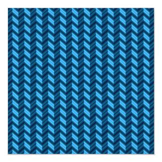 Cool Dark Blue Chevron 13 Cm X 13 Cm Square Invitation Card