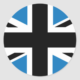 Cool Dark Blue Union Jack British(UK) Flag Round Sticker