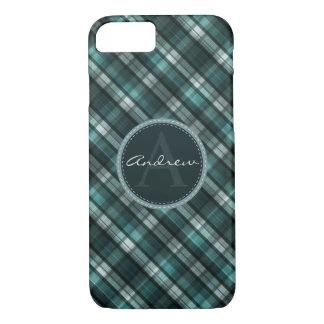 Cool Dark Cyan (Blue Green) Plaid iPhone 7 Case
