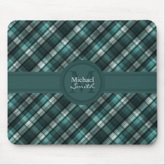 Cool Dark Cyan (Blue Green) Plaid Mouse Pad