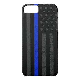 Cool Dark Distressed Police Style American Flag iPhone 8/7 Case