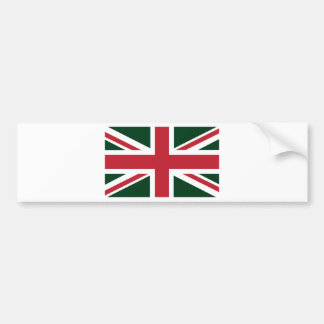 Cool Dark Green Red Union Jack British(UK) Flag Bumper Sticker