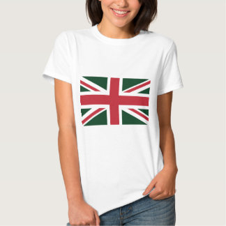 Cool Dark Green Red Union Jack British(UK) Flag Tshirts