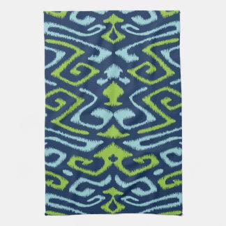 Cool dark navy blue and green tribal ikat print tea towels