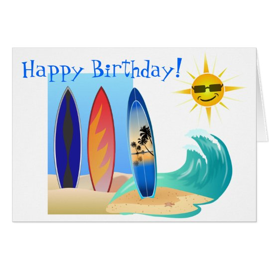 Cool Day At The Beach Surfing Surfboard Birthday