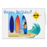 Cool Day At The Beach Surfing Surfboard Birthday Greeting Card
