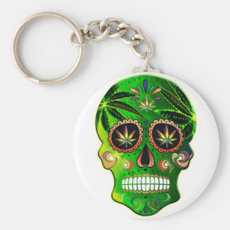 Cool Day of the Dead Sugar Skull Weed Key Ring