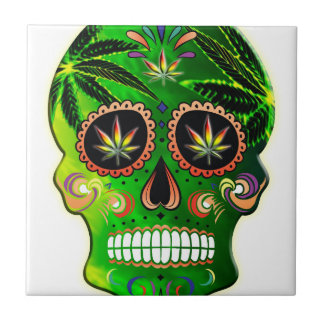 Cool Day of the Dead Sugar Skull Weed Small Square Tile