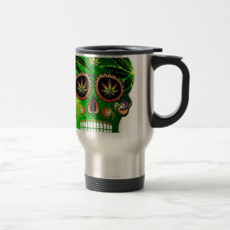 Cool Day of the Dead Sugar Skull Weed Travel Mug