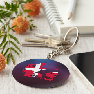 Cool denmark Flag Map Key Ring