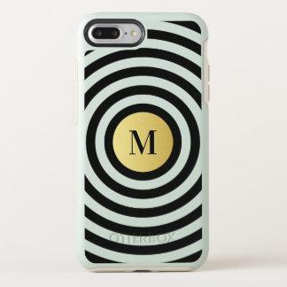 Cool Designer Black Stripe Pattern Gold Monogram OtterBox Symmetry iPhone 8 Plus/7 Plus Case