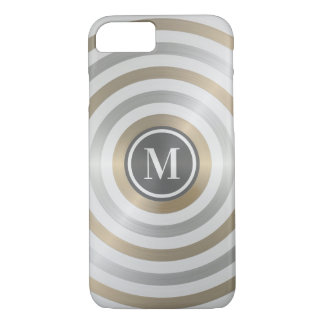 Cool Designer Metal Stripe Pattern Grey Monogram iPhone 8/7 Case