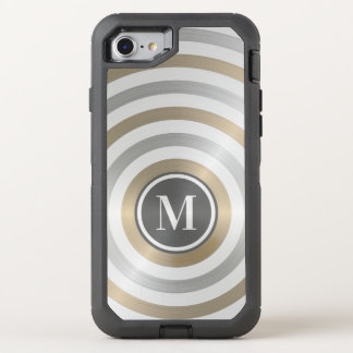 Cool Designer Metal Stripe Pattern Grey Monogram OtterBox Defender iPhone 8/7 Case