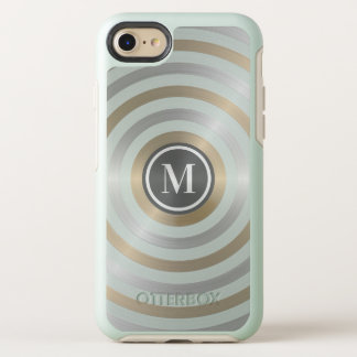 Cool Designer Metal Stripe Pattern Grey Monogram OtterBox Symmetry iPhone 8/7 Case