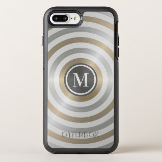 Cool Designer Metal Stripe Pattern Grey Monogram OtterBox Symmetry iPhone 8 Plus/7 Plus Case
