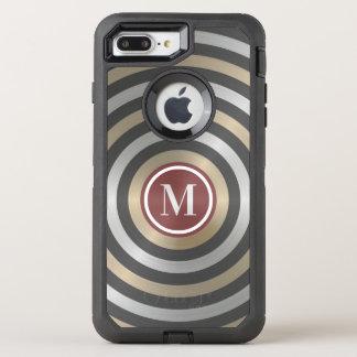 Cool Designer Silver Gold Stripe Pattern Monogram OtterBox Defender iPhone 8 Plus/7 Plus Case