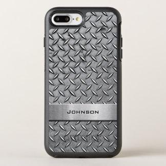 Cool Diamond Cut Silver Metallic Manly Look OtterBox Symmetry iPhone 8 Plus/7 Plus Case