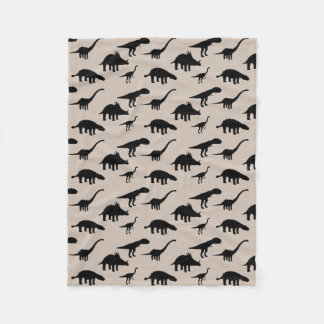 Cool Dino Dinosaurs Silhouettes Fleece Blanket