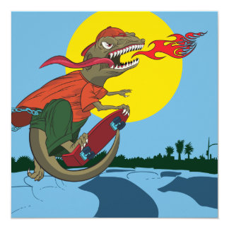Cool Dinosaur Kid on Skateboard by Rich Patric 13 Cm X 13 Cm Square Invitation Card