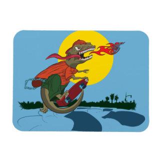 Cool Dinosaur Kid on Skateboard by Rich Patric Rectangular Magnet