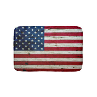 Cool Distressed American Flag Wood Rustic Bath Mat