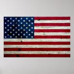 Cool Distressed American Flag Wood Rustic Print