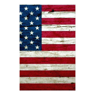 Cool Distressed American Flag Wood Rustic Stationery