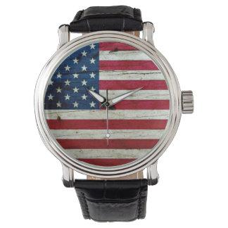 Cool Distressed American Flag Wood Rustic Watch