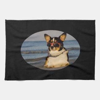Cool Dog at the Beach Tea Towel