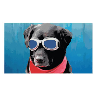 Cool Dog Black Lab Red Bandana Blue Goggles Business Card