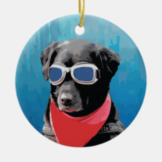 Cool Dog Black Lab Red Bandana Blue Goggles Christmas Ornament