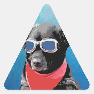 Cool Dog Black Lab Red Bandana Blue Goggles Triangle Sticker