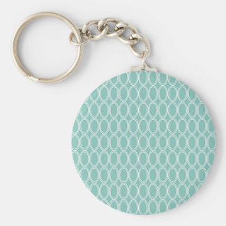 Cool Double Blue White Oval Pattern Fun Gifts Basic Round Button Key Ring
