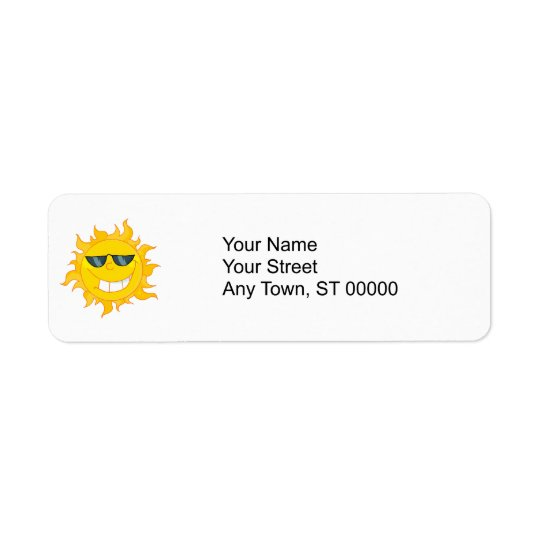 cool dude sun sunshine return address label