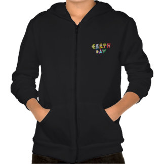 Cool Earth Day Custom Zip Hoodie Kids Black