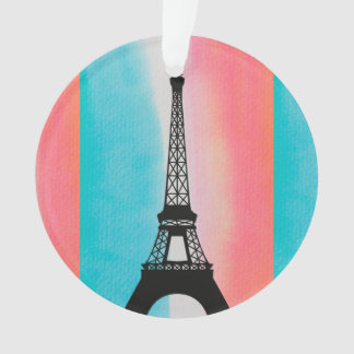 Cool Eiffel Tower Paris colourful background Ornament