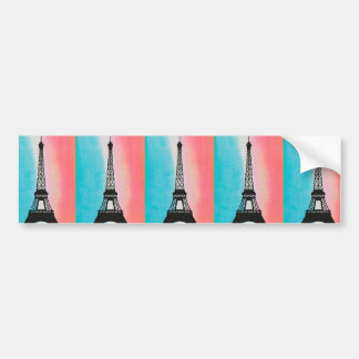 Cool Eiffel Tower Paris iron colourful background Bumper Sticker
