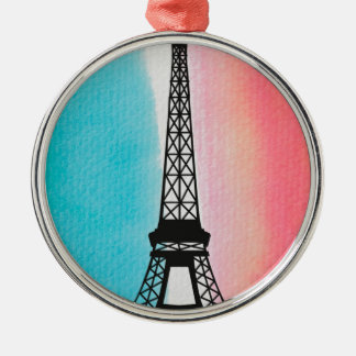 Cool Eiffel Tower Paris iron colourful background Christmas Ornament