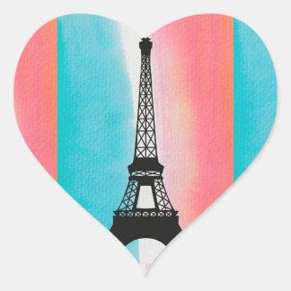 Cool Eiffel Tower Paris iron colourful background Heart Sticker
